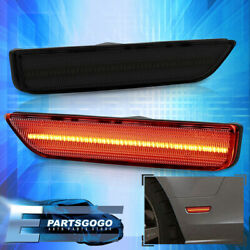 For 10-14 Ford Mustang Rear Red Led Bumper Side Markers Lights Lamps Pair Smoked