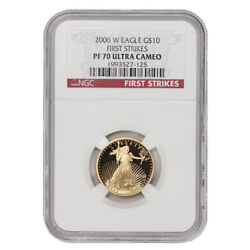 2006-w 10 American Eagle Ngc Pf70ucam First Strikes Gold Bullion 1/4 Ounce Coin