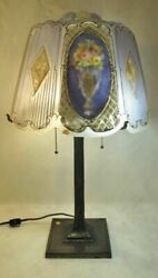 Magnificent C.1900 Puffy Reverse Painted Pairpoint Lamp Malta
