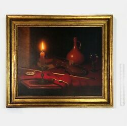 Moritz Albert Rusche Rudy Rusche Oil Painting Still Life Candle With Violin