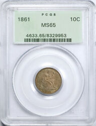 1861 10c Seated Liberty Dime Pcgs Ms 65 Uncirculated Toned Ogh Civil War Date