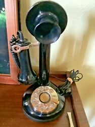 Vintage American Classic Candlestick Telephone Rotary Dial Black Retro Phone