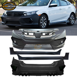 Fits 16-20 Honda Civic Concept Style Front Rear Bumper Conversion + Side Skirts