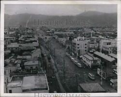 1952 Press Photo Elevated View Of Hiroshima, 7 Years After Atomic Bombing
