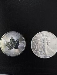 Lot Of 2 2020 1 Oz Silver Eagle And 1 Oz Silver Canadian Maple