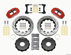 Wilwood Narrow Superlite 4r Front Hat Kit 14.00in Drill Red 2007-up For Jeep Wra