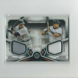 2021 Topps Tribute Ivan Rodriguez And Miguel Cabrera Dual Relic And039d 112/150 Tigers