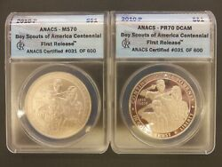 2010-p Boy Scouts Silver Dollar Set Anacs Ms70 And Pr70 Dcam First Release 031