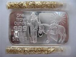 1oz .999 Pure Silver Rare Nevada Prospector Mule Bullion Barter Art Bar+gold