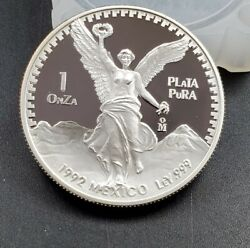 1992 Proof Mo 1 Oz Onza Mexico Libertad Gem Proof Unc Ley .999 Plata Pura