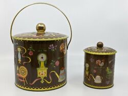 2 Vintage 1950 Daher Tin Canisters Early American Style Lidded Tins England
