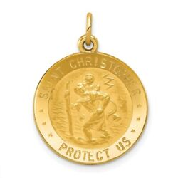 14k Yellow Gold Us Air Force Saint Christopher Medal Pendant