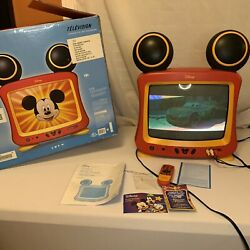 Vintage Disney 13 Color Mickey Mouse Color Crt Television Tested/ Working Boxed
