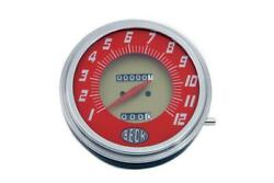 Red Faced Beck 21 Ratio Speedometer For Vintage Harley Knucklehead Panhead