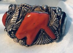 Carlos White Eagle Massive Sterling Turquoise And Coral Bracelet - Signed
