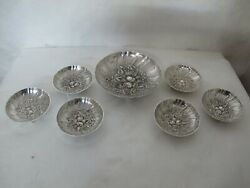 Spectacular And Large Kirk And Son Fruit Sterling 7 Pieces Featuring Fruit Design