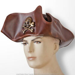 Antique Look Leather Tricorn Pirate Hat With Skull Crossbones Costume M Size