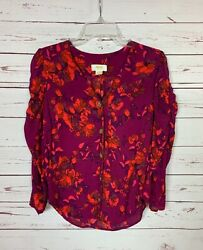 Maeve Anthropologie Womenand039s Xs Extra Small Floral Button Cute Top Blouse Shirt