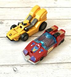 Vintage Transformers Toys Set 1980s Red Yellow Robot Cars