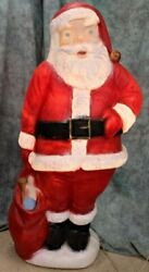 Rare Adorable Large 60 5ft Vintage Santa With Toy Bag Blow Mold Works