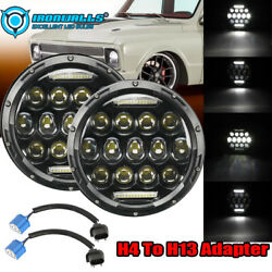 Pair 7 Inch Led Projector Headlight Hi-low H4 Fit For Chevy Truck Camaro C10