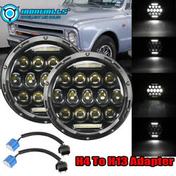 Pair 7 Inch Led Projector Headlight Hi-low H4 Fit For Chevy C10 C20 Pickup Nova