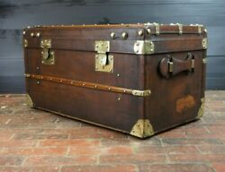 Antique Full Leather French Steamer Trunk