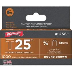 100 Pk Arrow T25 High-performance Round Crown Cable Staple, 3/8 L. 1000-pack