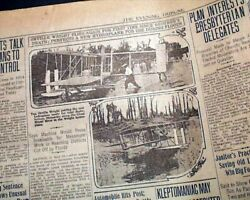 Orville Wright Brothers Airplane Hydroplane Test Flights Photos 1913 Newspaper