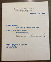 President Theodore Roosevelt 1914 Typed Letter Signed - Great Autograph