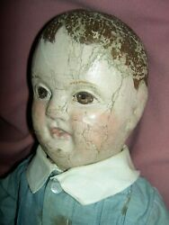 Rare Jb Sheppard And Co. Stamped Body, Antique Philadelphia Baby Boy Cloth Doll