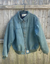 Fleece Lined Jacket Green Good Condition With A Nice Fade And Wear Xxl