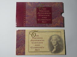 1993 Thomas Jefferson Coin And Currency Set - Silver Dollar 2 Note And Matte Nickel