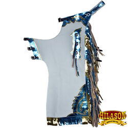 C-h149 Hilason Bull Riding Pro Rodeo Chaps White Smooth Leather Bronc Show Adult