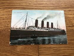 Rms Lusitania Colorized Real Photo Postcard In Liverpool / Cunard