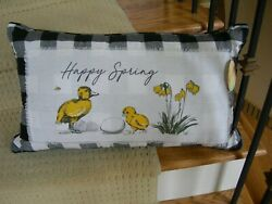 Decorative Happy Spring Black And White Cotton Pillow With Baby Chick Motif