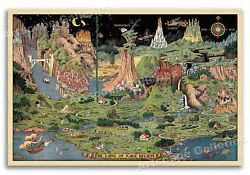 The Land of Make Believe 1930 Vintage Style Nursery Wall Art Poster 24x36