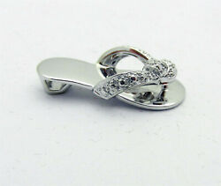Solid 14k White Gold Flip Flop Sandals With A Small Heel Charm Pendant 3.7gr