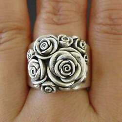 Antique Silver Flower Statement Ring Women Party Jewelry Gift Retro Band Sz 5-11