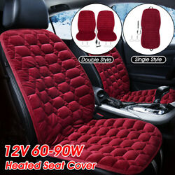 2x Seater 12v Car Heated Plush Cushion Seat Cover Heating Warmer Pad Thermal