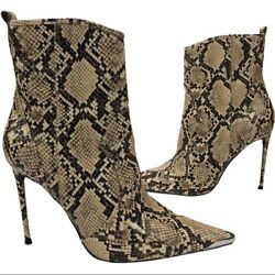 Winnie Harlow X Steve Madden Tina Pointy Embossed Snake Stiletto Ankle Boots 9m