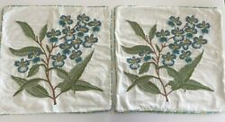 2 Pier 1 Pier One Imports Floral Embroidered Pillow Cover 18 Square White Blue