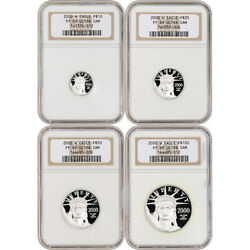 2000 W American Platinum Eagle Proof Four Coin Set Ngc Pf69 Ucam