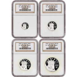 2002 W American Platinum Eagle Proof Four Coin Set Ngc Pf69 Ucam