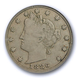 1886 5c Liberty Head Nickel Pcgs Vf 25 Very Fine To Extra Fine Cac Approved