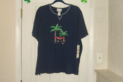 Alfred Dunner Plus Size 2x Top Island Hopping Palm Tree Navy New With Tags