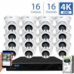 16 Channel Nvr 16 X 8mp Starlight Color Night 4k Poe Dome Security Camera System