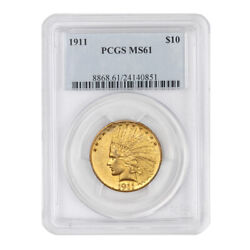 1911 10 Indian Pcgs Ms61 Philadelphia Minted Gold Eagle Uncirculated Coin