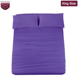 Mohap 4pcs Solid Bed Sheet Set Fitted Sheets Pillowcase King Size Dark Purple Us