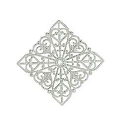 10 Silver Filigree Stamping 40x40mm Flat Square Bendable Focal Bead Cabochons